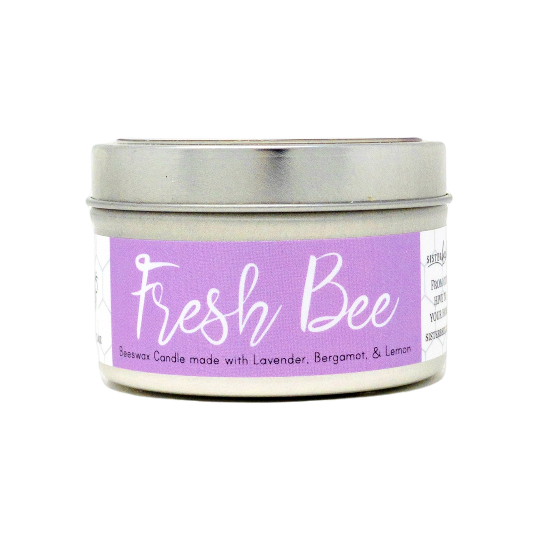 """Fresh Bee"" Beeswax Candle - Farmhouse Style Glass Jar - Sister Bees"