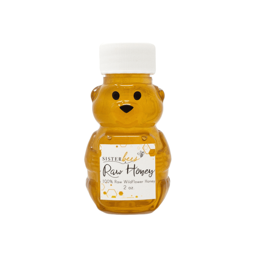 100% Raw Michigan Wildflower Honey Bear 2 oz - Sister Bees