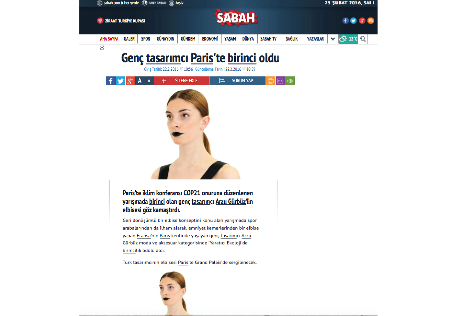 Publication in Turkish Newspaper, Sabah