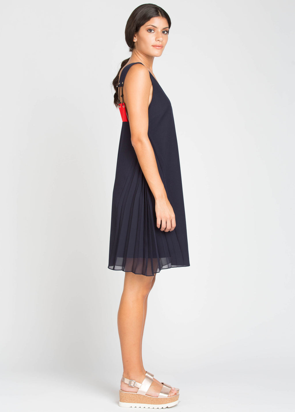 Maryline Dress - Navy/Red
