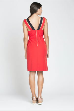 Laura Dress -Red/Navy