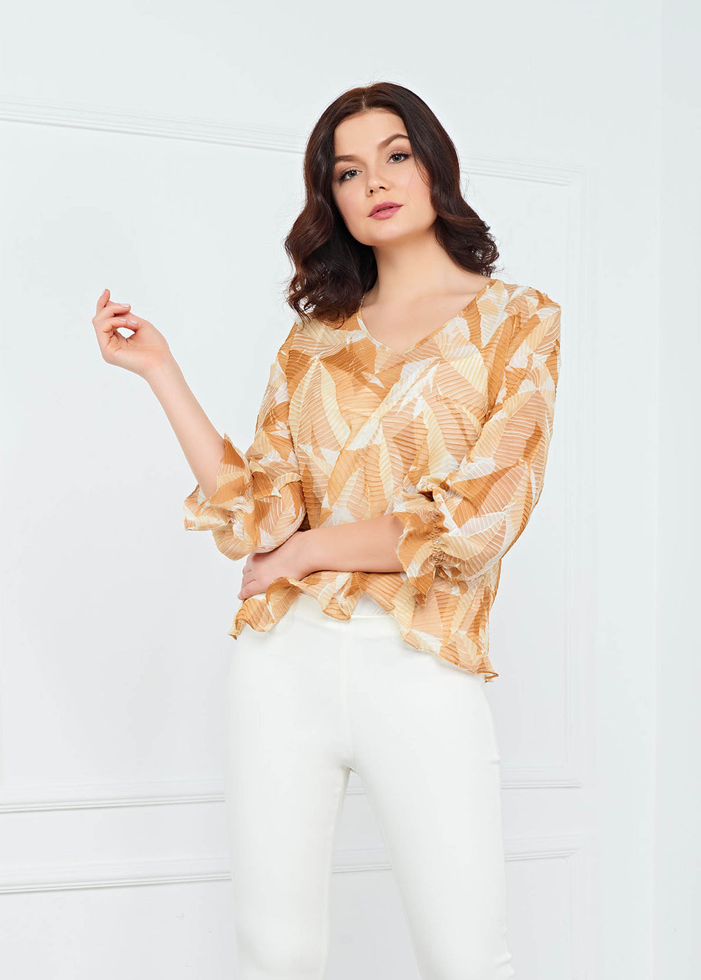 Juliette Pleated Top - Beige