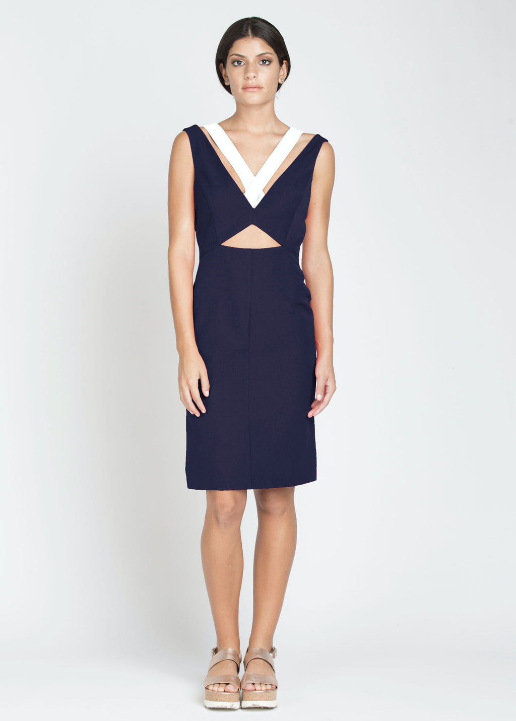 Laura Dress - Navy/Ivory