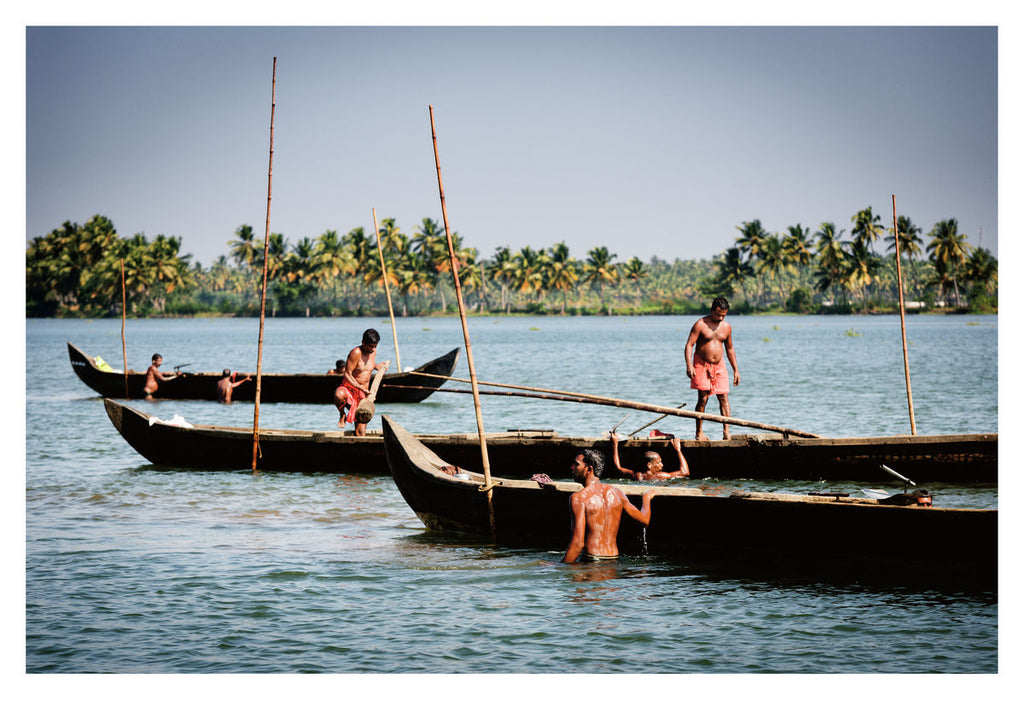 Mussels Pickers, Kerala Backwaters (59x42cm)
