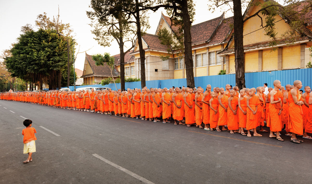 Monks procession in Phnom Penh