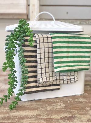 Cotton Tea Towels Farmhouse Stripe Set/3 - Allure Boutique WY