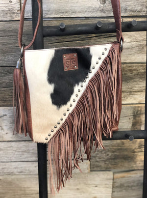 Cowhide Teton Crossbody Red/Brown - Allure Boutique WY