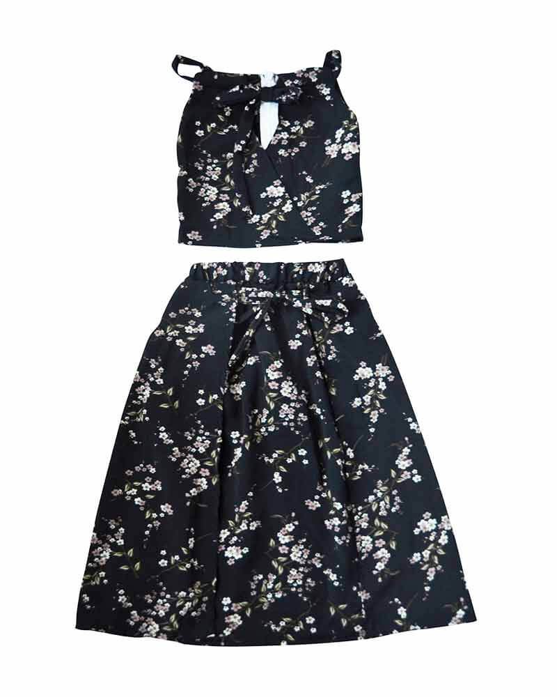 Navy Floral Maxi Skirt & Top - Allure Boutique WY