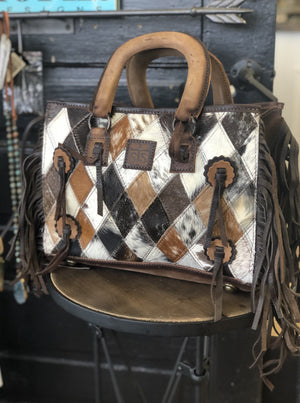 Diamond Cowhide Satchel - Allure Boutique WY