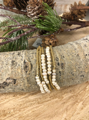 Gold Bead And Pearl Bracelet Set - Allure Boutique WY