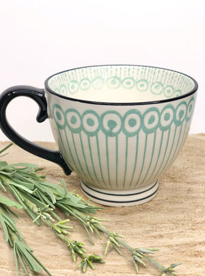 Hand Painted Tea Cup Green/Black - Allure Boutique WY