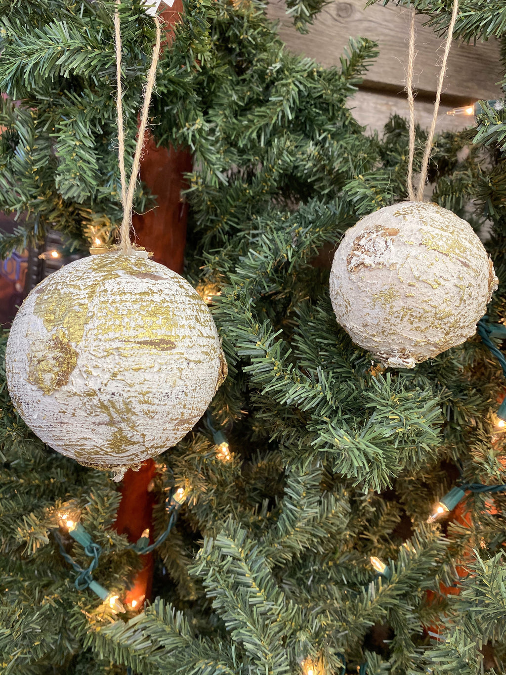 "3"" Round FoamTree Bark Ornament"