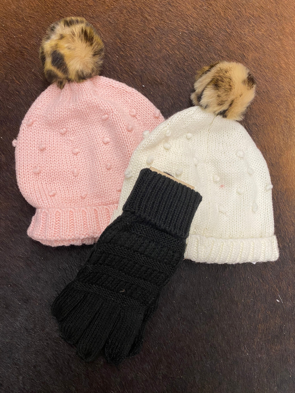 Girls Ivory Puff Knit Hat - Allure Boutique WY