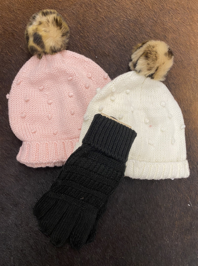 Girls Pink Puff Knit Hat - Allure Boutique WY