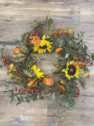 Wreath Sunflower Pumpkins Gourds - Allure Boutique WY