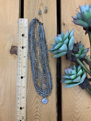 Gray Bead Drop Necklace Set - Allure Boutique WY