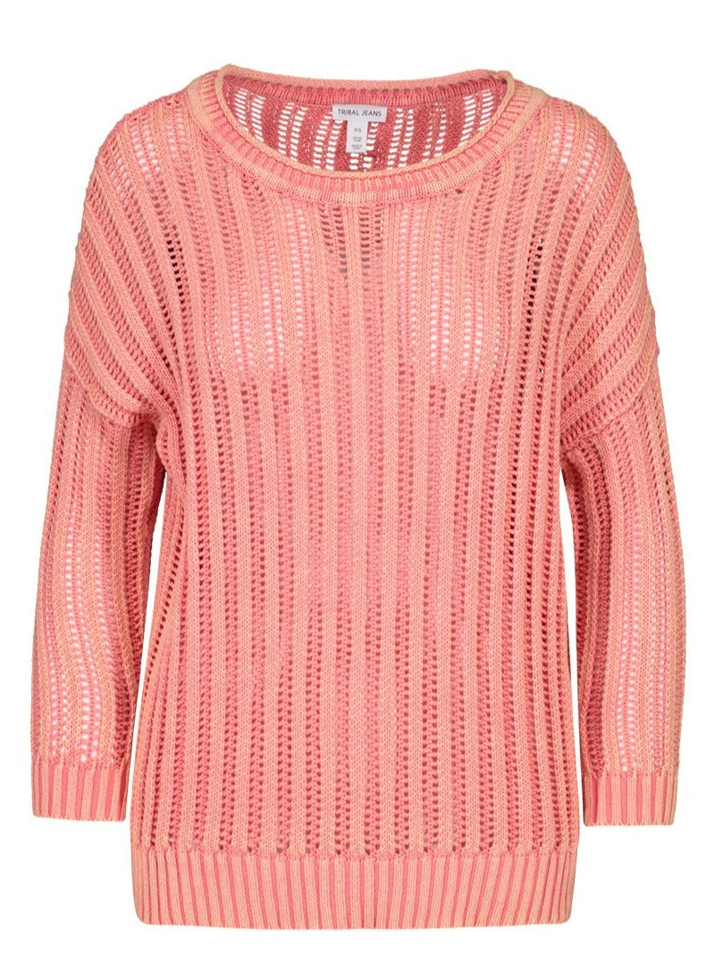 Peach Tulip Open Rib Sweater - Allure Boutique WY