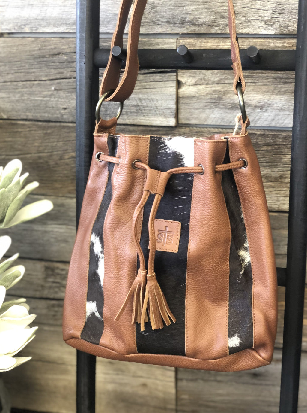 Cowhide Large Bucket Bag - Allure Boutique WY