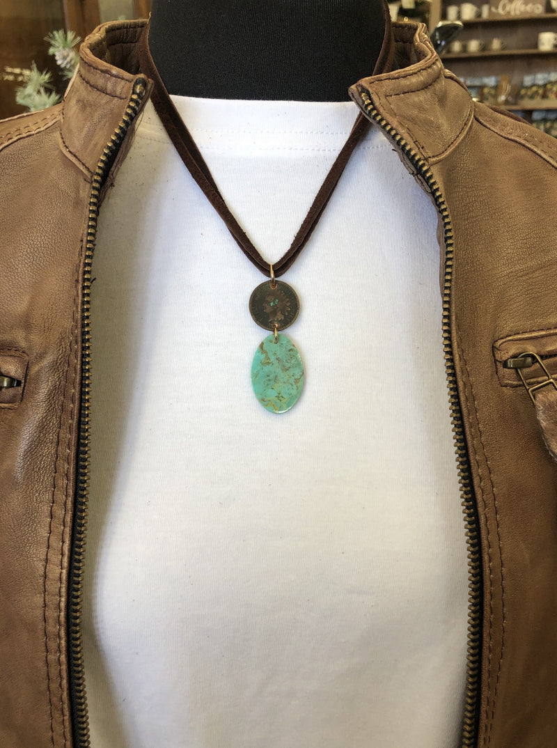 2 Strand Dime Turquoise Necklace - Allure Boutique WY
