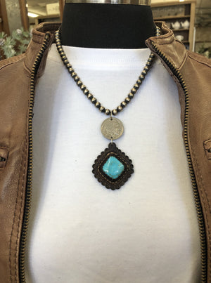 "NavajoPearls Nickel Turq 17"" - Allure Boutique WY"
