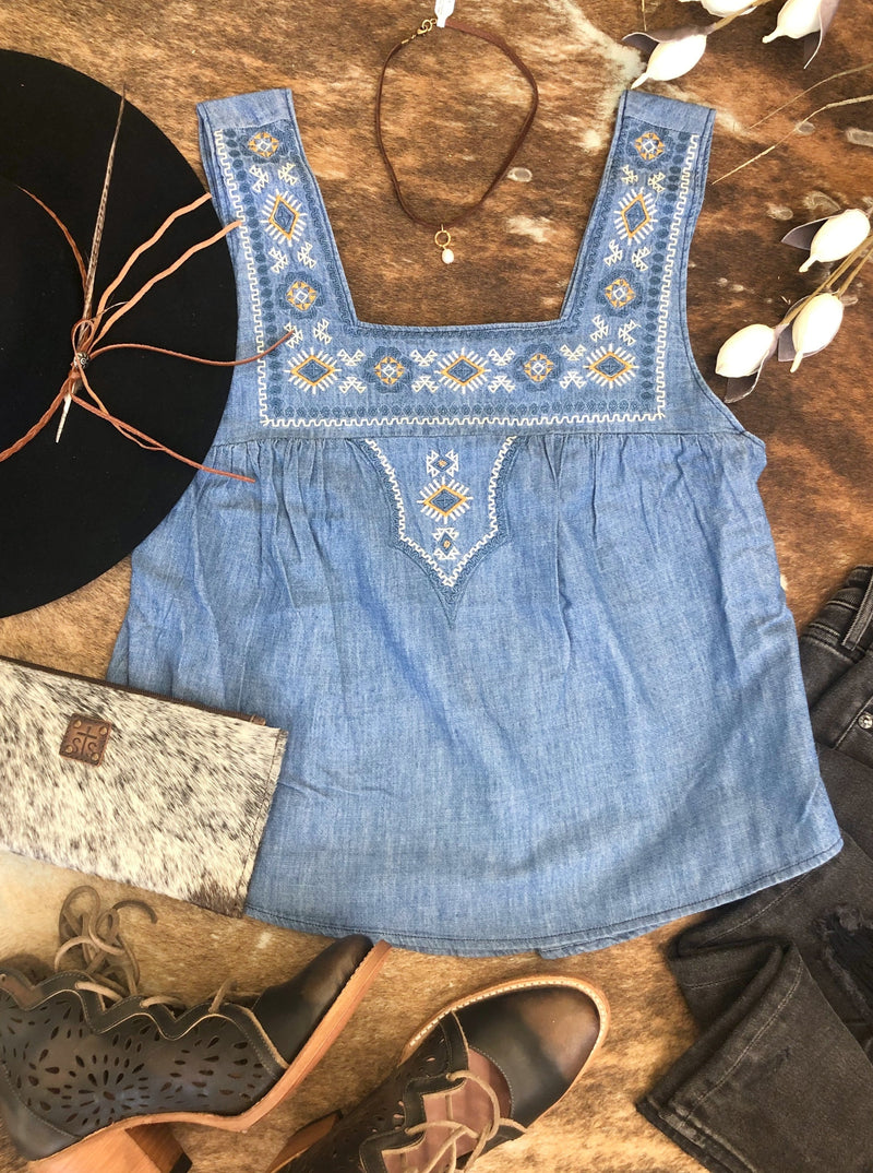Wrangler Indigo Square Neck Tank - Allure Boutique WY