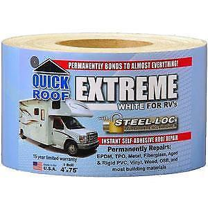 "CoFair Products UBE475 Quick Roof Extreme 4"" x 75' RV White Roof Tape"