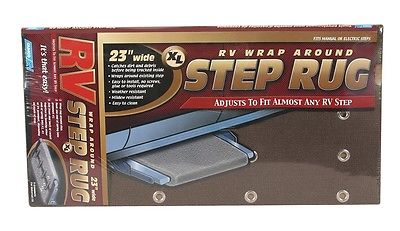 "Camco 42931 23"" Adjustable XL Wrap Around Brown Step Rug"