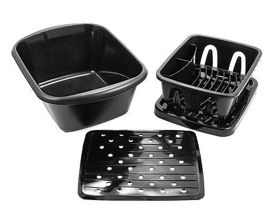 Camco 43518 Galley Sink Black 3-piece Kit with Drainer, Dish Pan and Mat