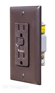 RV Designer S805 AC Dual Brown GFCI Outlet with Cover Plate