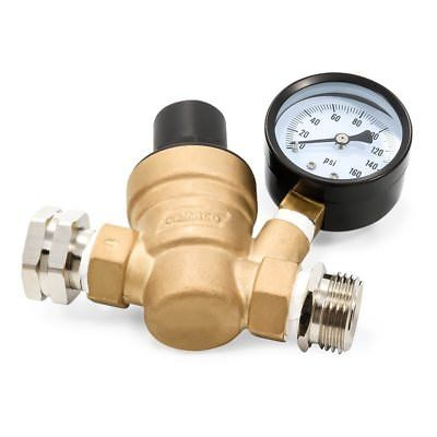 Camco 40058 Adjustable Brass Water Pressure Regulator with Gauge