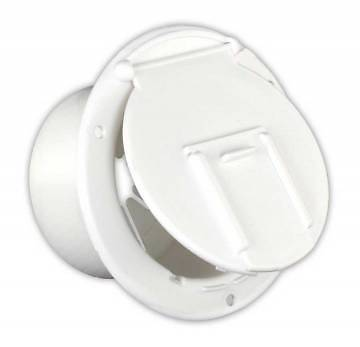 JR Products 370-2-A White Round Electric Cable Hatch