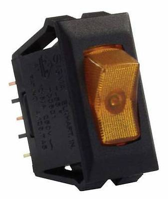 JR Products 12555 Amber Illuminated On/Off Switch with Black Bezel