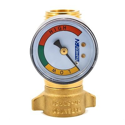 Camco 40064 40-50psi Brass In-line Water Pressure Regulator with Gauge
