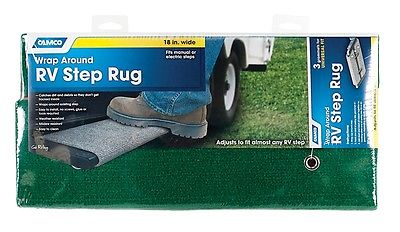 "Camco 42923 18"" Adjustable Wrap Around Green Step Rug"