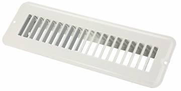 "JR Products 02-28925 2"" x 10"" White Undampered Metal Floor Register"