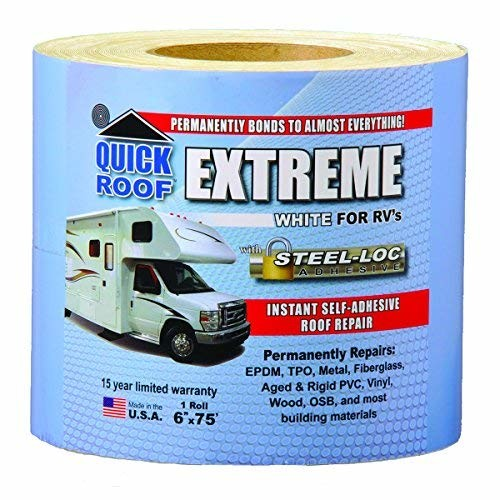 "CoFair Products UBE675 Quick Roof Extreme 6"" x 75' RV White Roof Tape"