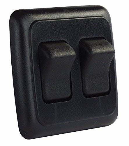 JR Products 12235 Black Double On/Off Switch with Plate