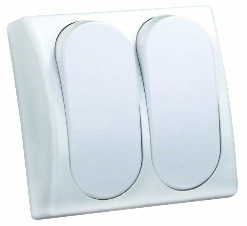 JR Products 13585 White Double Modular On/Off Switch with Bezel