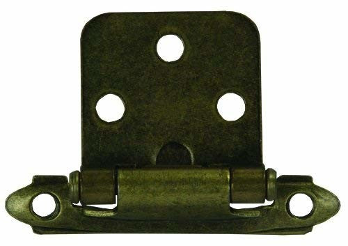 JR Products 70585 Cabinet Self-Closing Antique Brass Flush Mount Hinge - 2pk