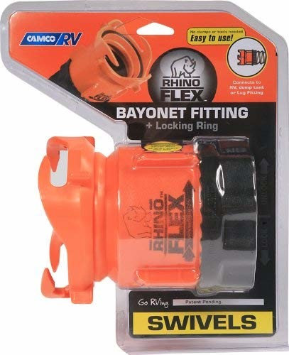 Camco 39783 RhinoFlex Rotating Sewer Hose Bayonet Fitting with Lock Rings