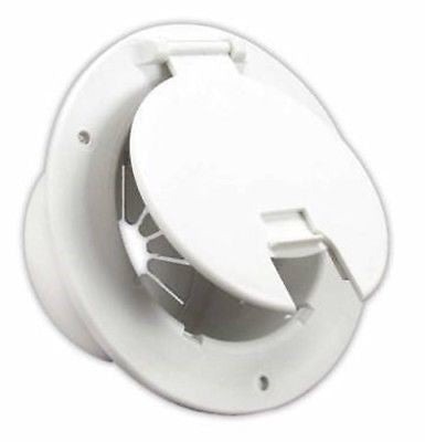 JR Products 541-2-A White Deluxe Round Electric Cable Hatch