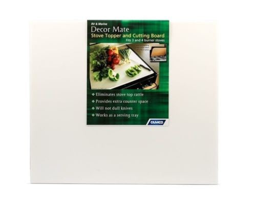 "Camco 43704 DecorMate 17"" x 19-1/2"" Black Stove Topper Cutting Board"