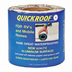 "CoFair Products WQR6 Quick Roof 6"" x 33.5' White EPDM Rubber Roof Tape"