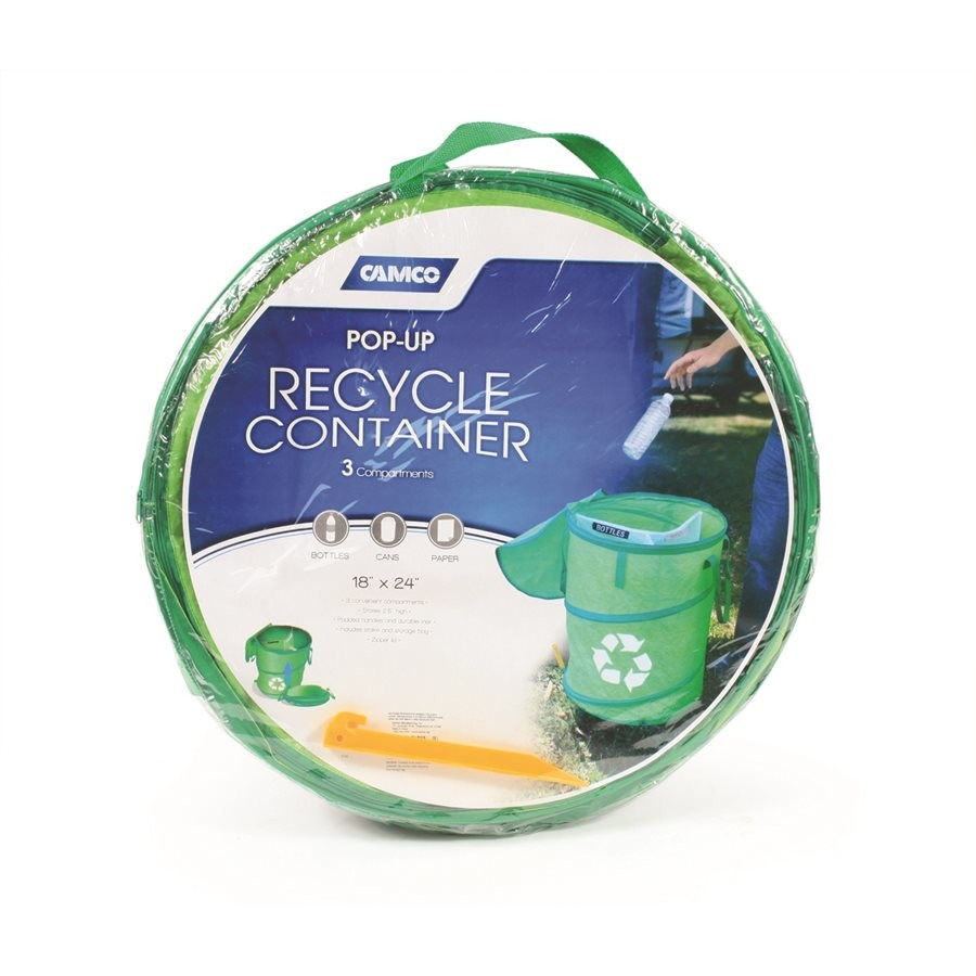 "Camco 42983 Pop-Up 18"" x 24"" Green Recycle Collapsible Container"