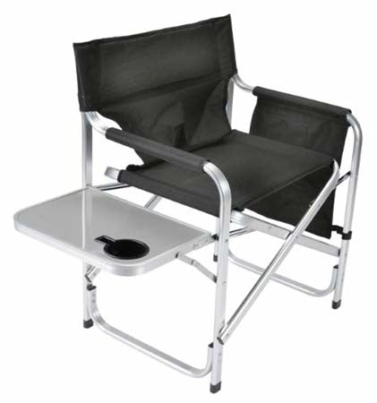 Faulkner 48871A Black Aluminum Folding Director's Chair with Cup Holder