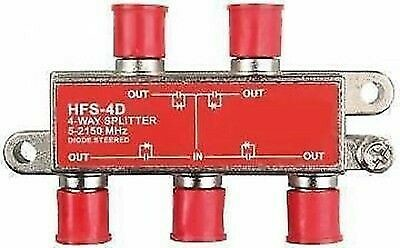 JR Products 47345 4-Way 2.4 GHz F-Style TV Cable Splitter