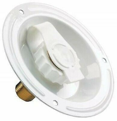 "JR Products 62125 1/2"" MPT Lead Free Metal White City Water Dish"