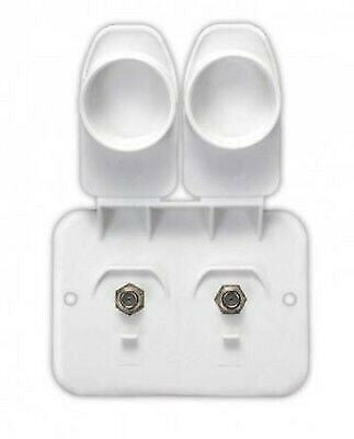 JR Products 543-B-2-A Polar White Dual Cable Wall Plate