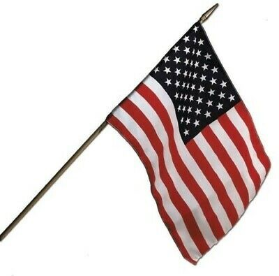 "Camco 45491 12"" x 18"" Fabric US Flag with 1/4"" Wooden Staff"