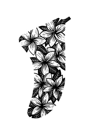 "20"" x 30"" Frangipani Flowers Fin Giclée Surf Art Print - Limited Edition 50"